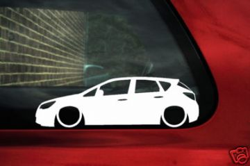 2x LOW Vauxhall NEW Astra J 5 door Outline stickers .For NEW Astra J mk6
